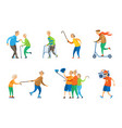 people dancing senior people relaxing music box vector image vector image