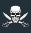 pirates skull and swords vector image vector image