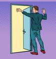 pop art man opens door greeting vector image vector image
