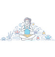 practicing yoga - modern line design style vector image