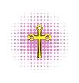Religious symbol of crucifix icon comics style vector image