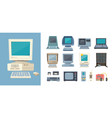 retro pc and electrical devices set gadgets with vector image vector image