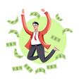 rich businessman in suit jumping with dollar bills vector image