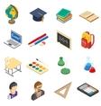 School isometric icons set vector image