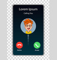 screen of smartphone with incoming call vector image vector image
