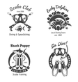 Scuba diving club labels set Underwater swimming vector image