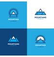 set four geometric linear mountain logo vector image vector image
