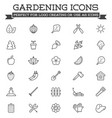 set landscaping related line icons plants vector image