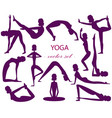 set of 13 yoga poses the girl silhouette vector image