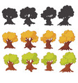 set of cartoon trees isolated on white vector image vector image