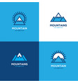 set of four geometric linear mountain logo vector image vector image