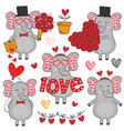 set of isolated elephant in love part 1 vector image vector image
