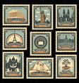 set stamps with architectural historical sites vector image vector image