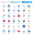set trendy flat gradient medical and vector image