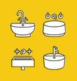 sink icons set plumbing line icons vector image vector image