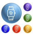 smart watch icons set vector image vector image