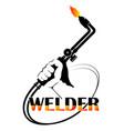 symbol for welder welding machine in hand vector image vector image