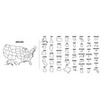 usa outline map with each state isolated vector image vector image