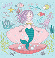 whimsical cute mermaid clam vector image vector image