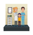 young dentists couple with patient vector image