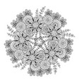 mandala with flowers pattern adult coloring book vector image