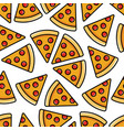 pepperoni pizza seamless pattern vector image