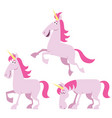 unicorn cartoon set vector image