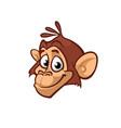 cartoon monkey head icon isolated vector image