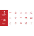 15 roof icons vector image vector image