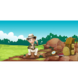 A boy wearing a hat sitting on a rock vector image vector image