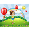 A happy girl watching the air balloons vector image vector image