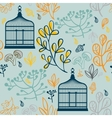 Autumn seamless pattern with vintage birdcages