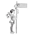 bass clef fairy with staff vintage vector image vector image
