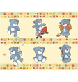 Border for wallpaper with stuffed bear cubs vector image