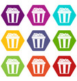 box of popcorn icon set color hexahedron vector image vector image