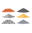 building materials a pile of bricks cement sand vector image vector image