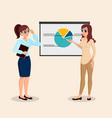 business people training girl presentation vector image