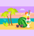 card with ocean view and sunset beach vector image
