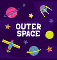 cartoon flat with a spaceship outer space vector image