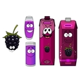 Cartoon happy blackberry juice characters vector image vector image