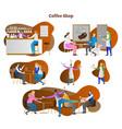 coffee shop scenes collection vector image