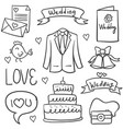 collection of wedding element doodles vector image vector image