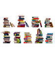 collection stacks with colorful books vector image