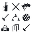 croquet sport icons set simple style vector image vector image