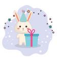 cute rabbit kawaii birthday card vector image