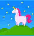 cute unicorn stands on hill vector image vector image