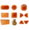different shapes of wooden buttons vector image vector image