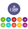 e shop icons set color vector image vector image