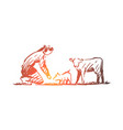 farmer animals pig cow rural concept vector image