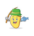 fishing mango character cartoon mascot vector image vector image